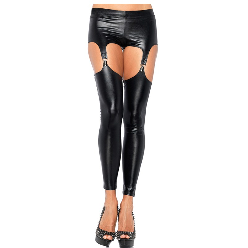 Faux Leather Black Latex Thigh High Sexy Stockings Garter Belt Suspender Fitness Pantyhose Latex Leggings 4 Clips Fetish Wear