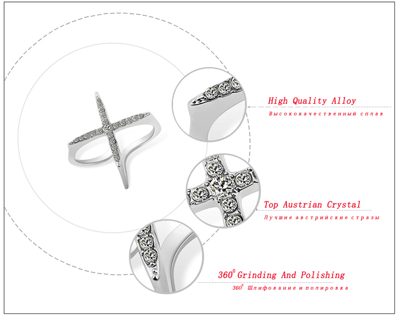 Ajojewel New Fashion Open Ring Women Micro Pave CZ Ladies Cross Rings - Նորաձև զարդեր - Լուսանկար 2