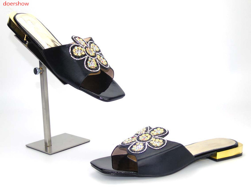doershow holesale African Designer Shoes Women Fashhion Hot Style African Sandals Shoes Pumps For Wedding !FA1-5 doershow women slipper elegant african women sandals shoe for party african wedding low heels slip on women pumps shoes abs1 5