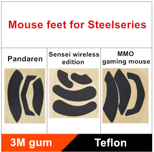 2 sets/pack Teflon mouse skates mouse feet for Steelseries Pandaren/Sensei wireless edition/MMO gaming mouse image