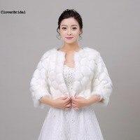 Autumn 2017 Free Size Elegant Classic Half Sleeves Ivory Wedding Wrap Fur Bolero Jacket Evening Party Short Bridal Coat