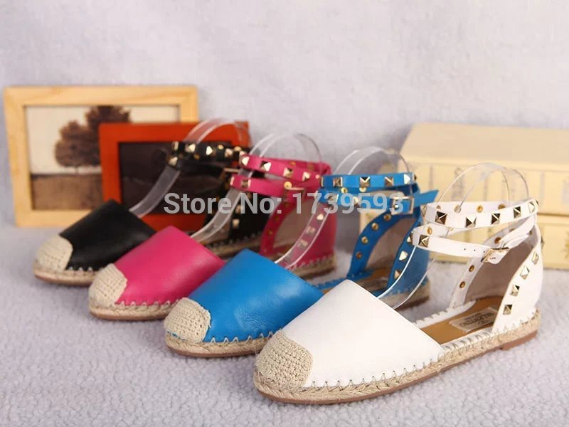 2015 Luxury Brand valentine Designer Genuine Leather Espadrilles White Flats Shoes Women Plus Thickness Sole Size 41 - Lianshui First Trading Co., Ltd. store