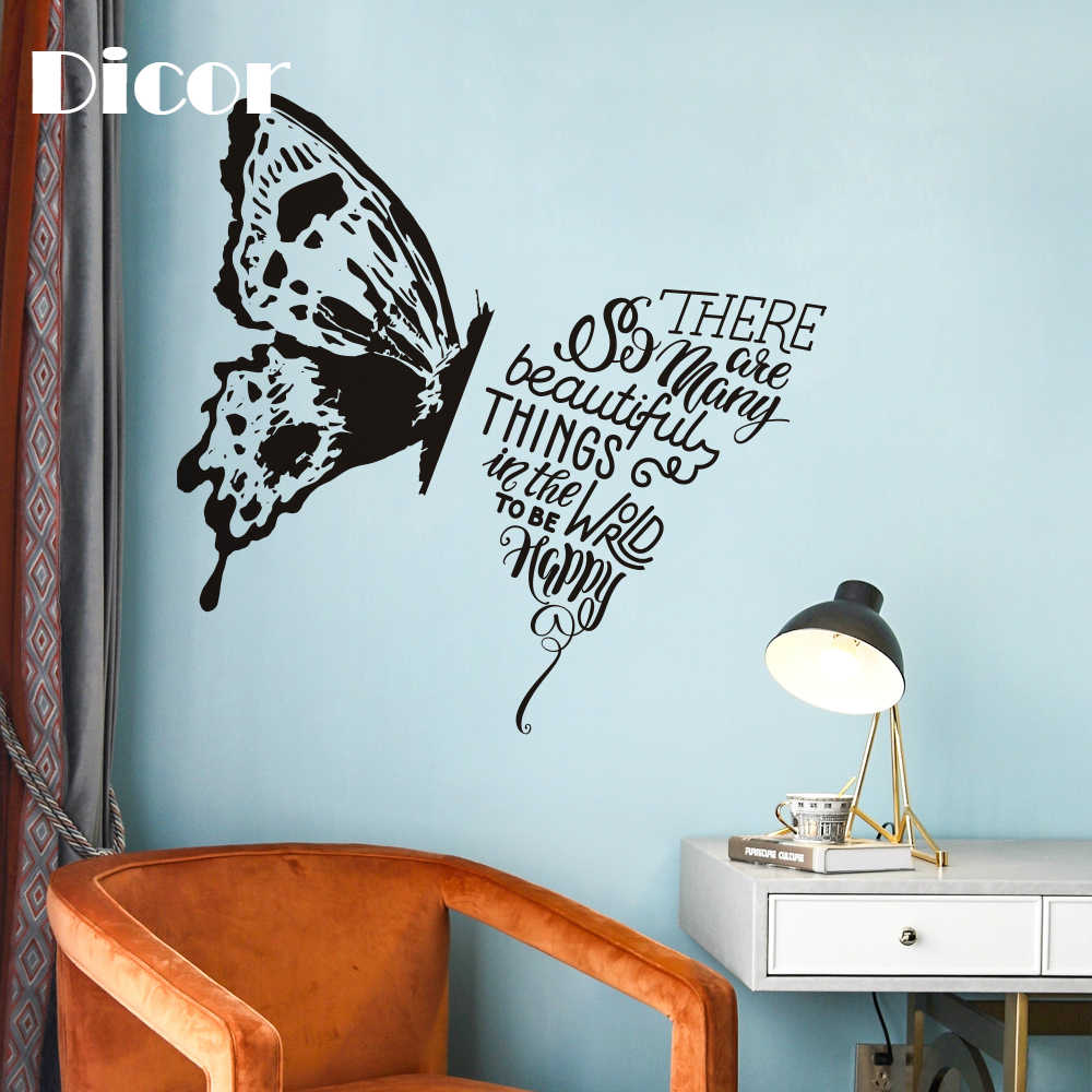 Dicor Creative Black Butterfly Specimen Wall Sticker Mural Personality Fashion Decal Pvc Diy Wall Art Modern Home Decoration New