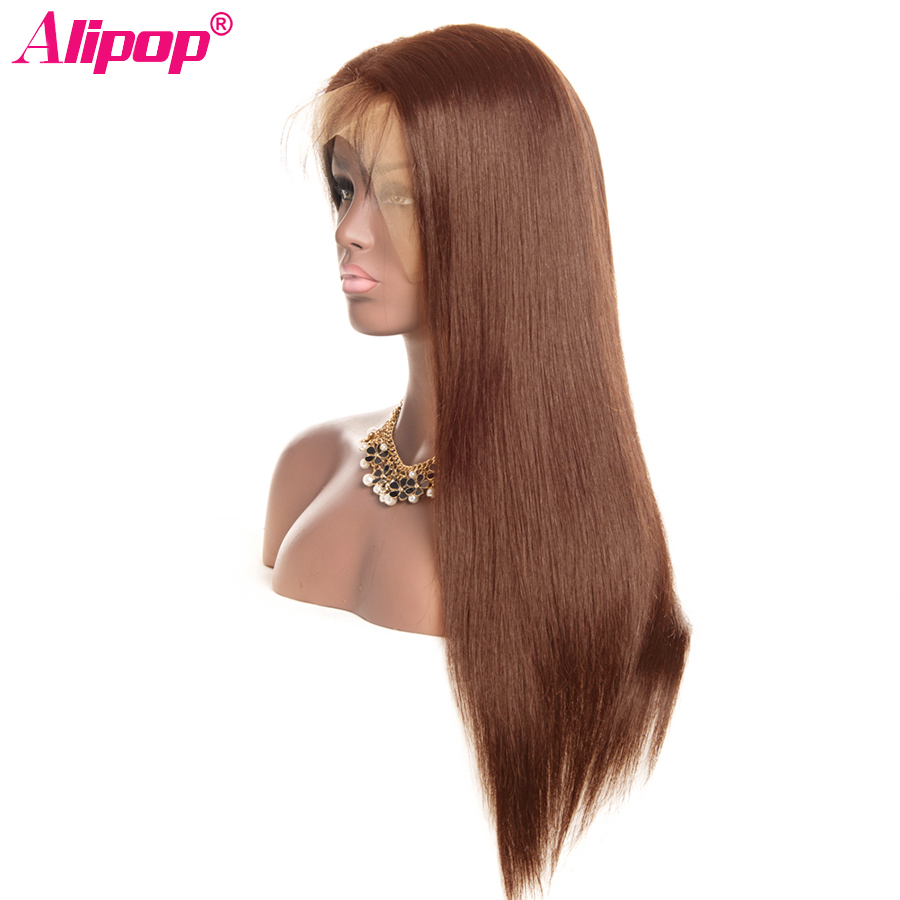 #4 Light Brown Brazilian Lace Front Human Hair Wigs ALIPOP 130% Lace Front Wig Straight Human Hair Wigs Natural Hairline 10-26 (1)