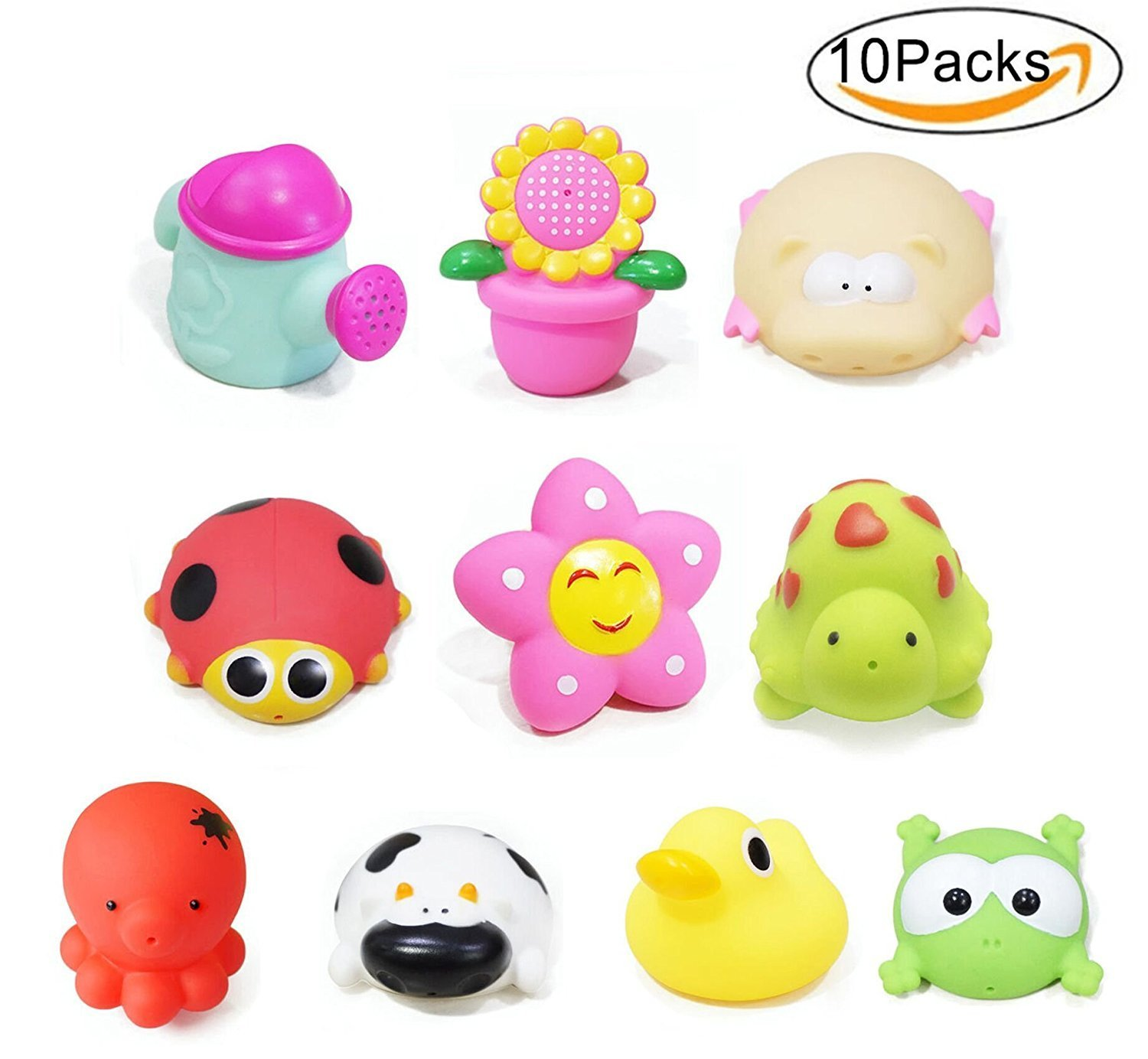 Baby Bath Toys 10 PCs Soft Rubber Animals Toys Kids Water Toys Squeeze Sound Spraying Beach Bathroom Toys