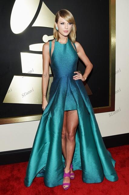 c7e3a83d6 2015 taylor Design Ice Blue Scoop Neckline Asymmetric Satin Fabric Grammy  Awards Red Carpet Celebrity Dresses