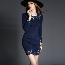 New Winter 2016 Women Dresses Evening Party Women Knitted Lace Sexy Hollow Out Appliques Bottom Dress Slim Vestidos Dark Blue