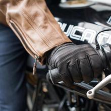 Honglue 2017 NOVOS homens da moda de couro da motocicleta equitação luvas touch-screen luvas amarelo preto