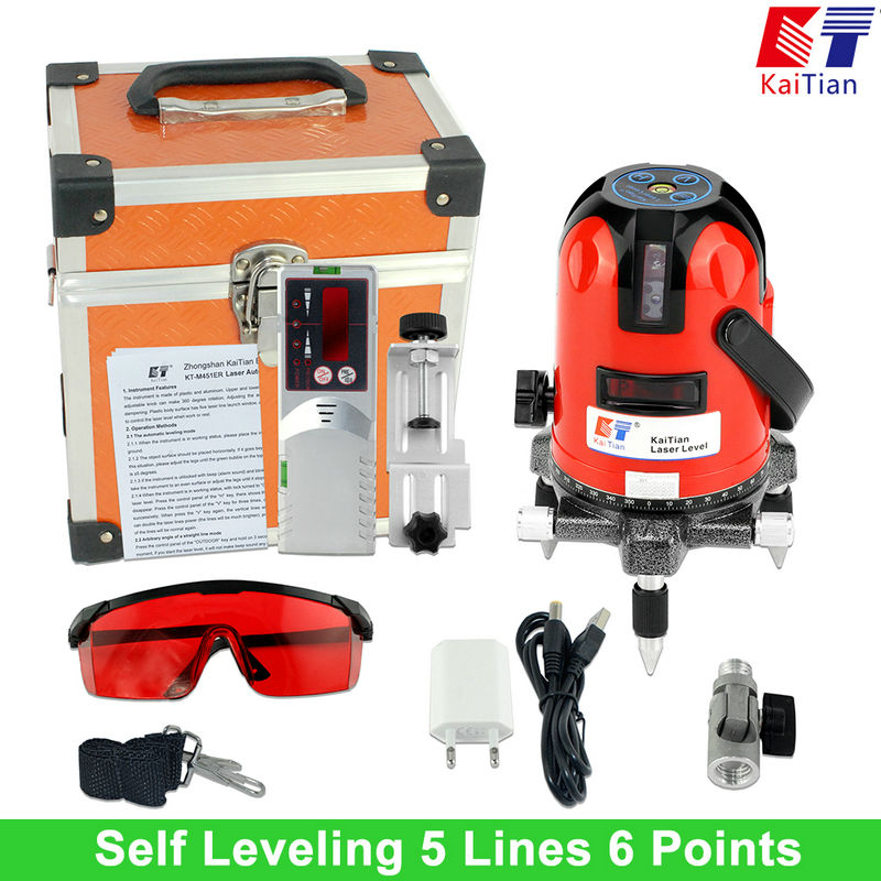 Kaitian Laser Level 360 Degree Outdoor with Tilt Slash Function Self Leveling EU 635nm 5 Lines Vertical & Horizontal Lasers CN