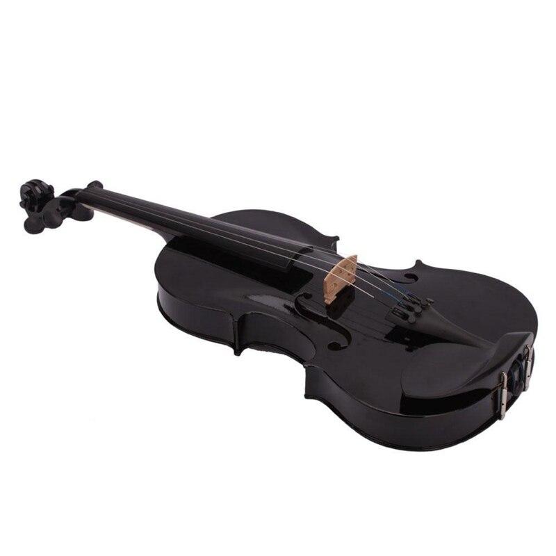 4/4 Full Size Violino Acústico Violino Preto com Caixa Bow Rosin