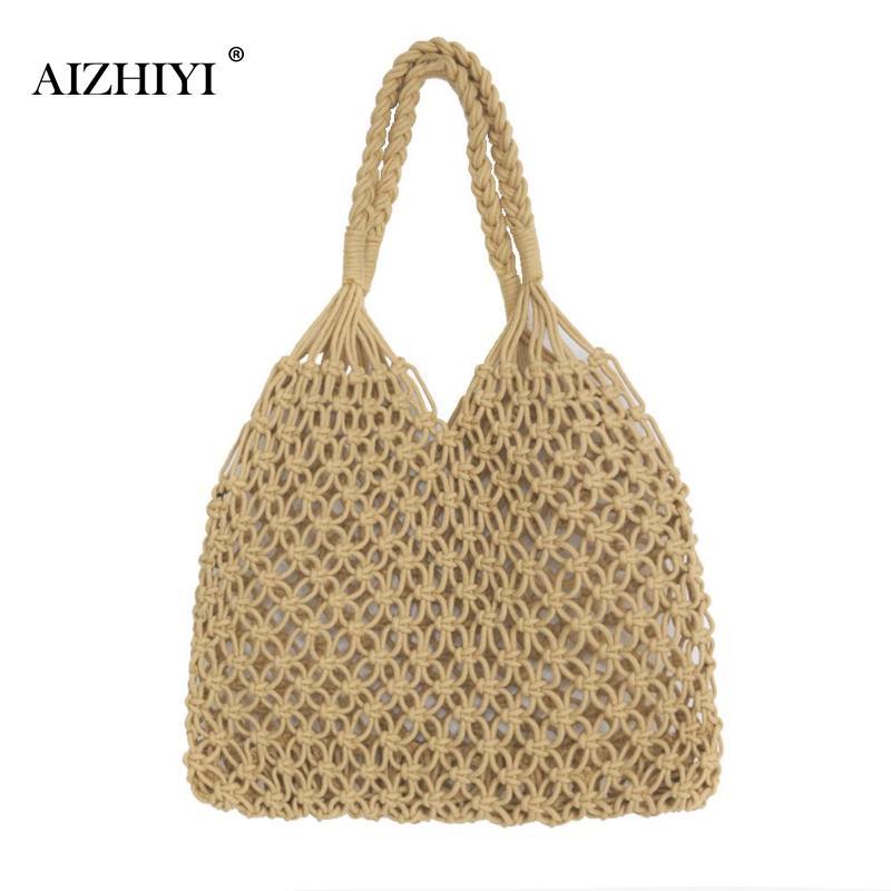 цена Women Hollow Mesh Beach Bag Woven Bucket Handbags Cotton Summer Rope Portable Casual Handbags Totes Famous Design Shoulder Bag