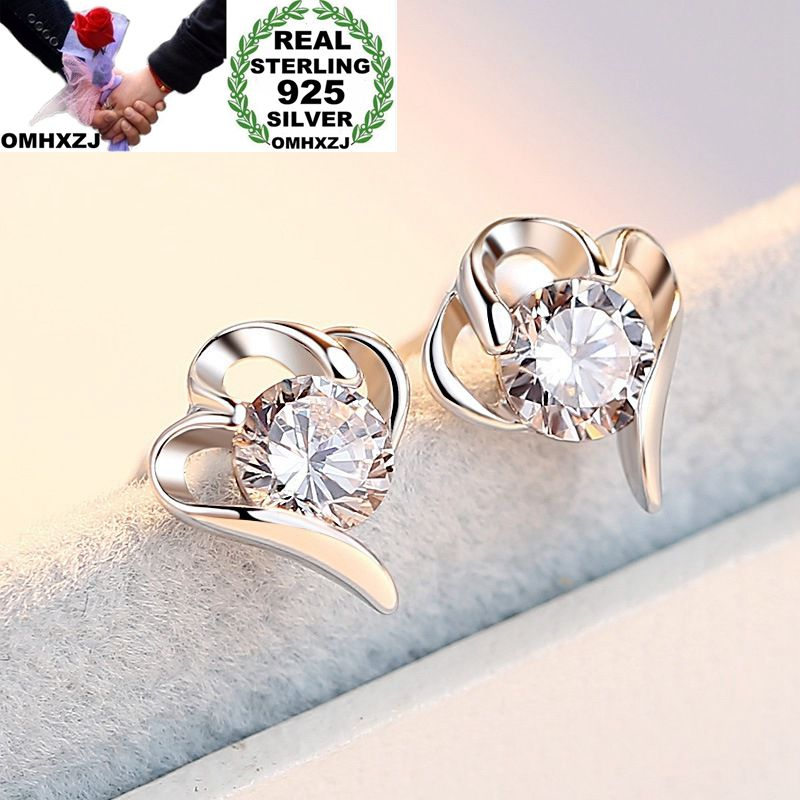 OMHXZJ Wholesale European Fashion Woman Girl Party Wedding Gift Heart White AAA Zircon S925 Sterling Silver Stud Earrings EA148
