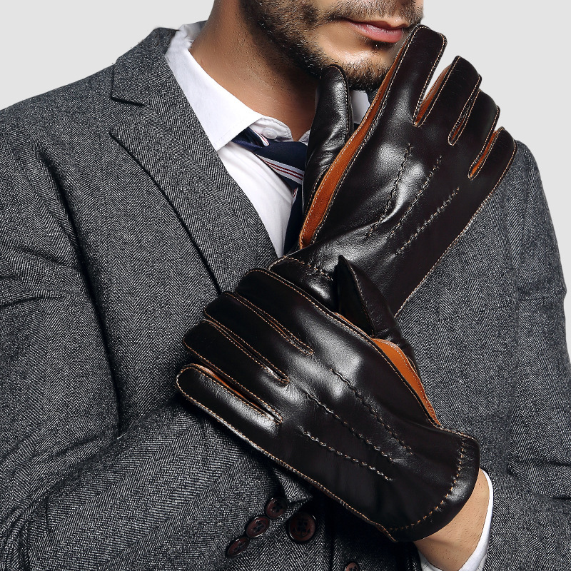 2020 NEW Genuine Leather Gloves Male Two Colors Patchwork Men Sheepskin Gloves Autumn Winter Cashmere Lined Driving Glove 2805