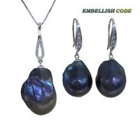 black blue baroque pearl sets hook earrings pendant plus size natural freshwater Cultured pearls 925 Sterling silver box chain