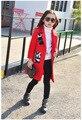 Varejo de moda meninas casaco 2017 nova primavera Coreano casaco de lã seção no longo casaco de lã das crianças frete grátis