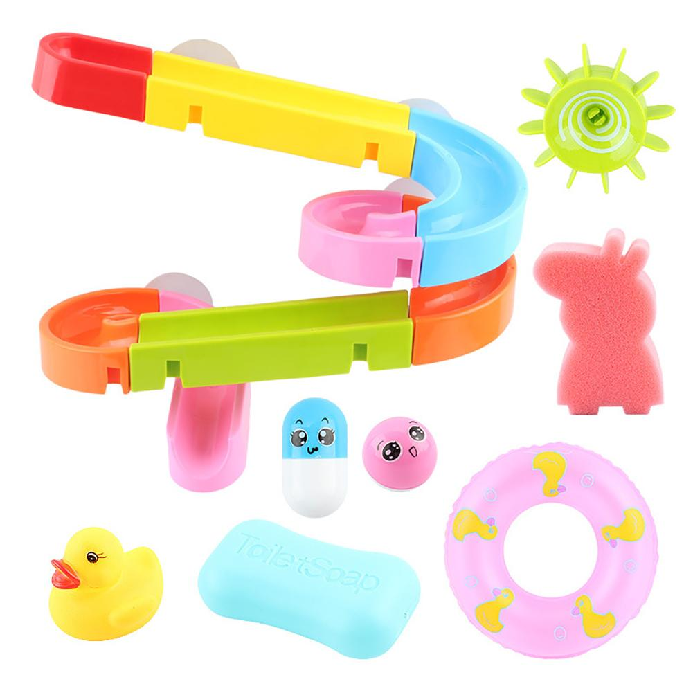 Baby Bath Toys Shower Track Slide Water Toys Baby Shower Dabbling Bathroom Assemble Toys Children Squeeze Duck Fake Swim Ring