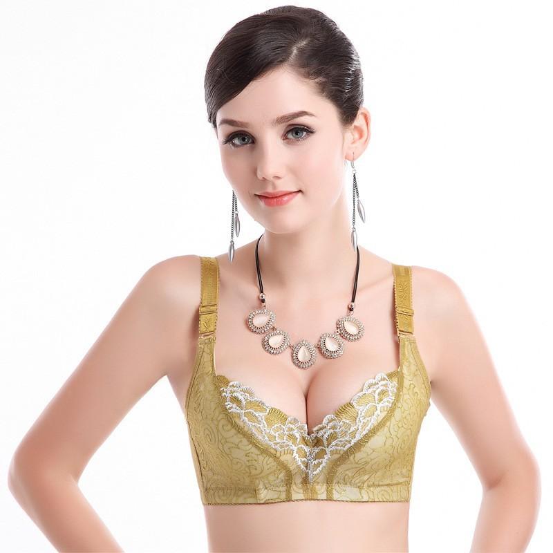 6357c7459bc21 ... Push Up Bra Women Bras Fashion Flora Seamless Bra Top Quality Underwear  Plus Size Gather Adjustable Wearing. Model Show