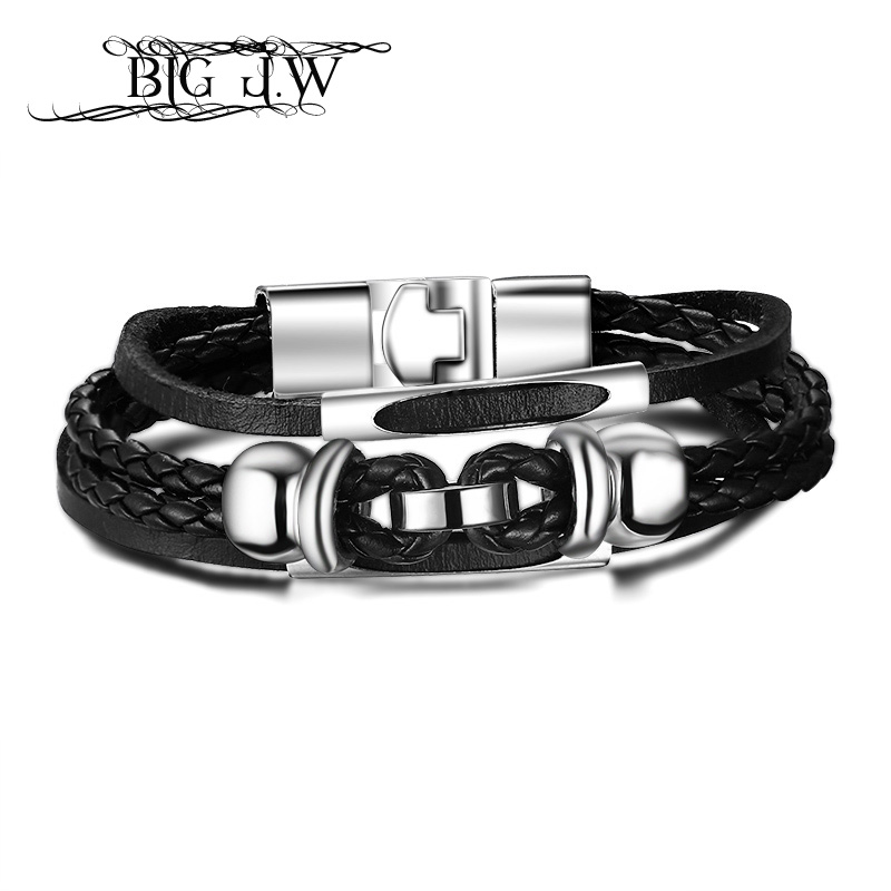 BIG J.W Hiphop 3 Layers Leather Braided Charm Bracelet Bangle for Women Men's Trendy Alloy Bracelet Fashion Korean Jewelry