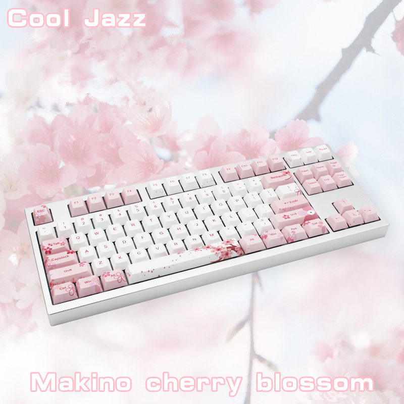 Cherry blossom 126 Keys Full Set Mechanical Keyboard Keycap PBT Five Face Dye-Sublimation Keycaps For Mechanical keyboard