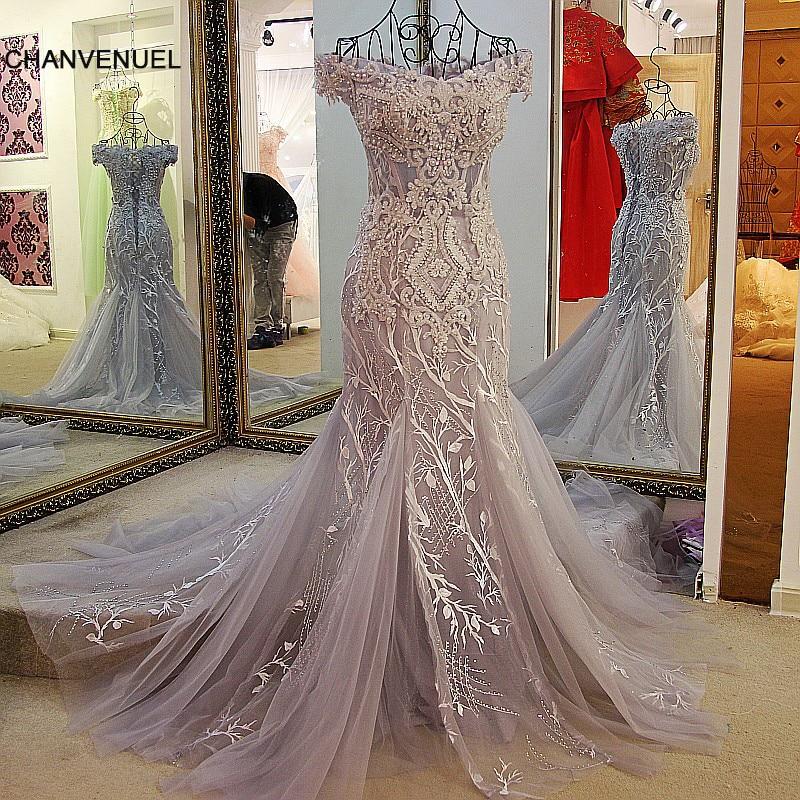 LS24110 Mode sjöjungfrun kvällsklänning spets upp bak ryggen av axelapplicerad spetsformig klänning för bröllop grå och elfenben