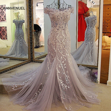 LS24110 Fashion mermaid evening dress lace up back back off shoulder appliqued lace formal dress for wedding gray and ivory