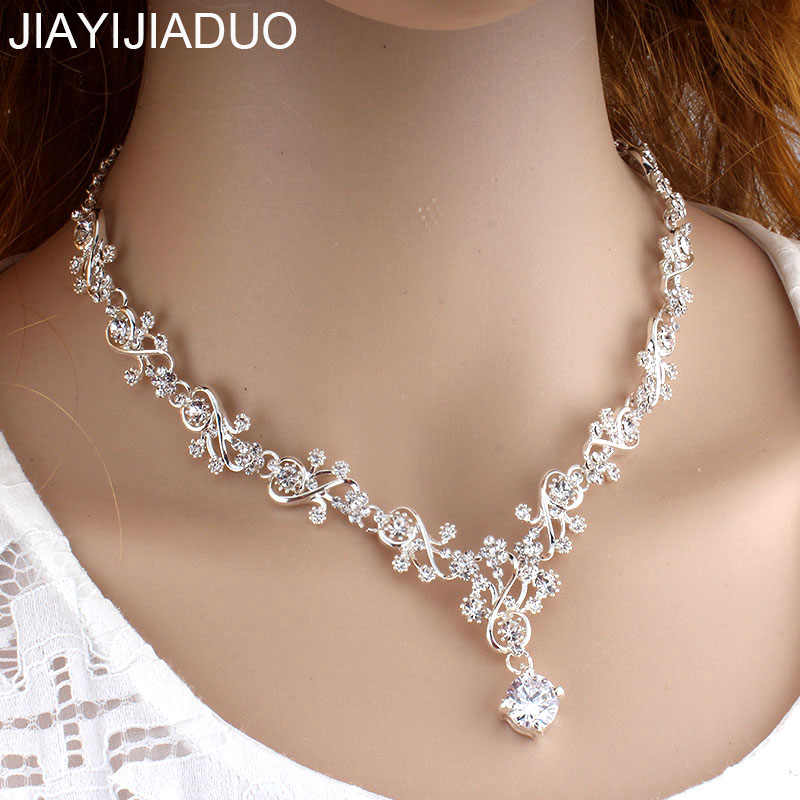 jiayijiaduo  Women's Necklace Silver Color Fashion Wedding Bride Bridesmaid Chokers Necklace Jewelry Round Crystal Necklace new