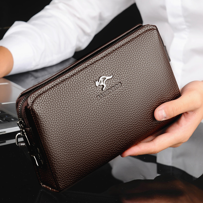 KANGAROO Luxury Brand Men Clutch Bag Leather Long Purse Password Money Bag Business Wristlet Phone Wallet Male Casual Handy Bags