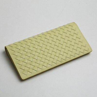 LANSPACE мужские кошельки тканый кожаный кошелек брендовый кошелек Чехол - Цвет: Yellow