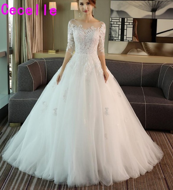 robe de marie 2019 Ball Gown Tulle Country Wedding Dress With 3 4 Sleeves  Corset Back Lace Appliques Bridal Gowns Sale 90c541bf3933
