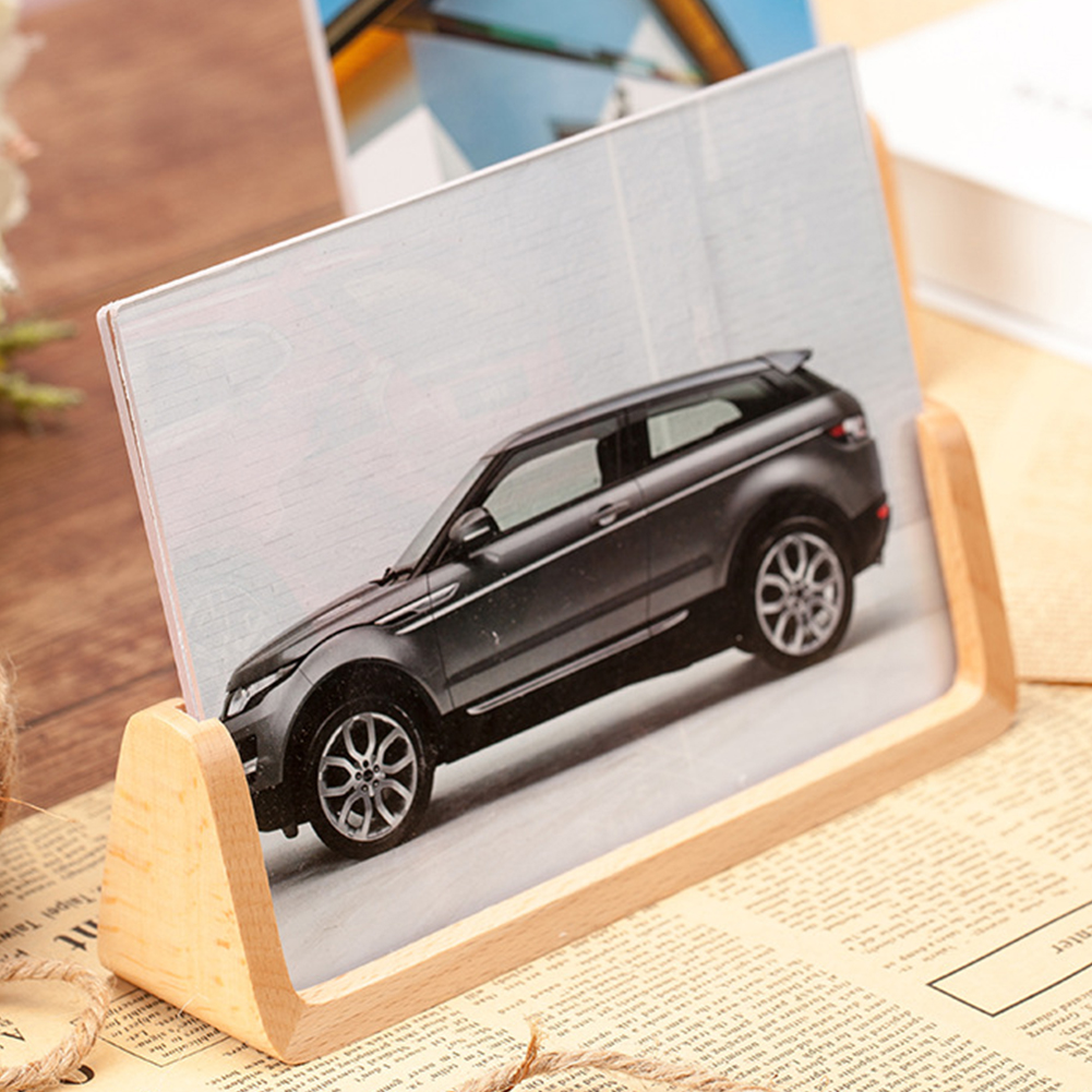 Home & Garden Helpful 6/7inch Decorations Holder U-shaped Home Picture Fashion Office European Style Modern Acrylic Stand Photo Frame Wooden Desktop Crazy Price