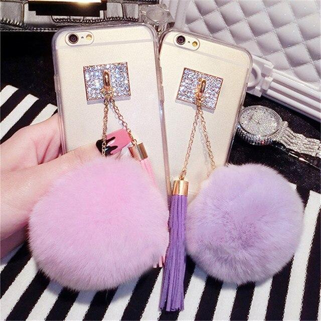 For Huawei mate 9 10 lite pro Nova 2 plus 3i Luxury Tassels Fur Ball Pompom  Transparent Bling phone case Soft TPU Back Cover 9f28c44a2bbc
