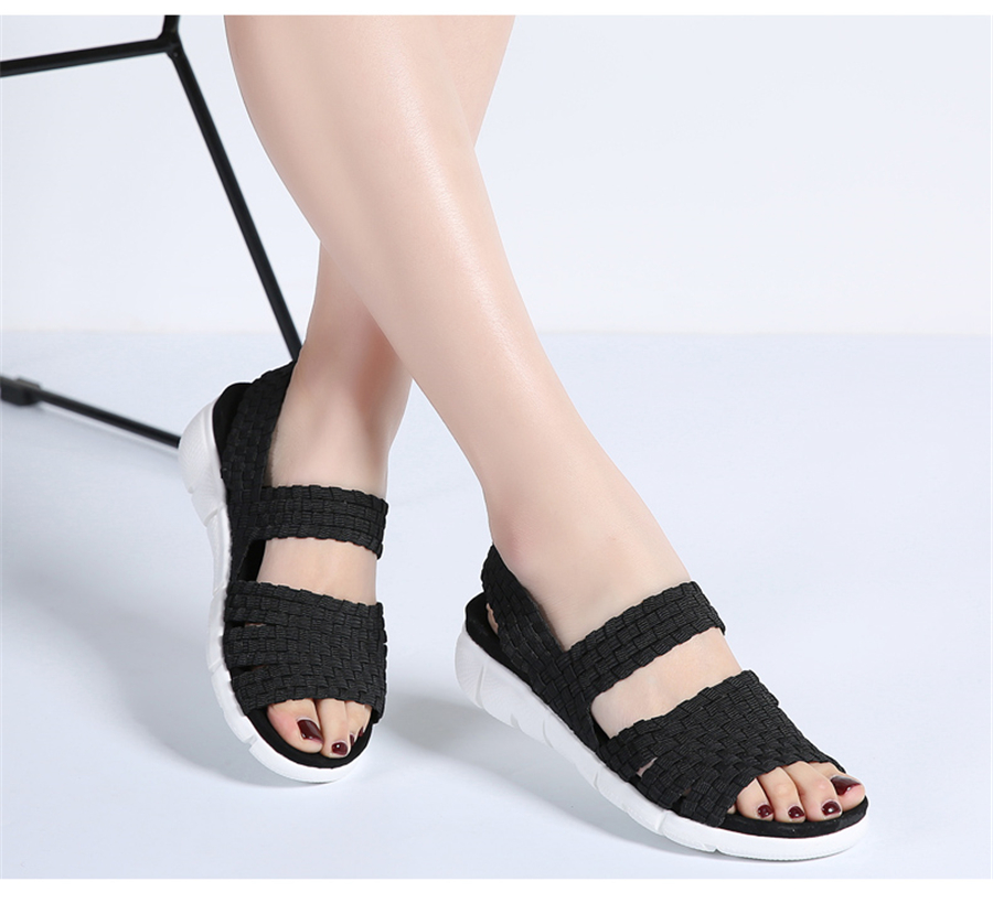 STQ 2019 women flat sandals shoes women woven wedge sandals ladies beach summer slingback sandals flipflops jelly shoes 803