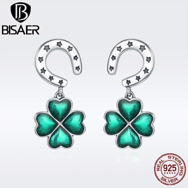 Bisaer Brincos 925 Sterling Silver Horseshoe Clover Petal Flower Stud Earrings For Women Fine Jewelry
