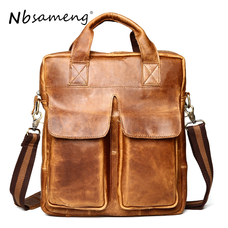 NBSAMENG  Men Bag Crazy Horse Leather  Handbag Vintage Casual Business Shoulder Bag Briefcase Messenger Crossbody Bag Laptop vintage genuine leather men briefcase bag business men s laptop notebook high quality crazy horse leather handbag shoulder bags