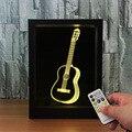 3D гитара Любовь Узел часы фото рамка пульт управления 7 видов цветов Изменение USB светодиодный ночник 3D стол визуальная лампа Декор подарок