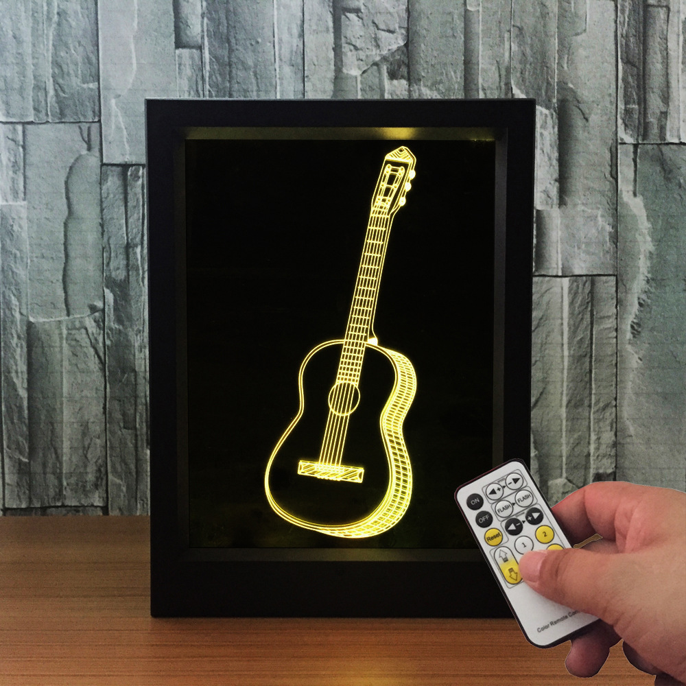 3D Guitar Love Knot Clock Photo Frame Remote Control 7 Colors Changing USB LED Night Light 3D Table Desk Visual Lamp Decor Gift color changing dolphin shape 3d visual led night light