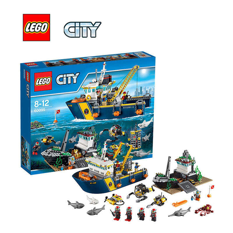 LEGO City Deep Sea Exploration Vessel Architecture Building Blocks Model Kit Plate Educational Toys For Children LEGC60095 774pcs city deep sea explorers 02012 model exploration vessel building blocks bricks children toys ship kit compatible with lego