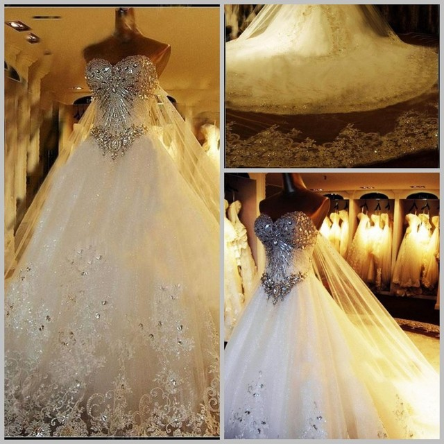 Crazy Sell New Perfect sparkly A Line White/Ivory Wedding Dress ...