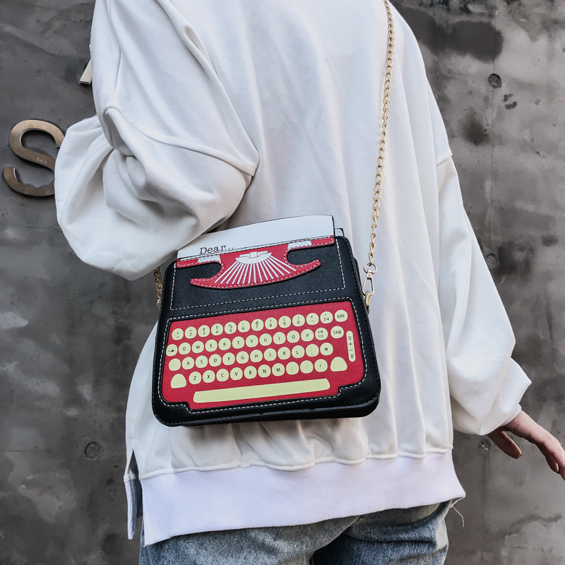 Funny Cartoon Typewriter Design Pu Leather Women's Casual Shoulder Bag Totem Femal Crossbody Mini Messenger Bag Purse Flap