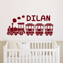 Personalized Train Wall Decal Customized Boys Name Sticker Nursery Decoration Custom Vinyl Mural AY1248