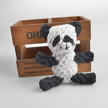 Free shipping Pet Black White Panda shape Chew Bite Cotton Knot Rope Dog Molars And Teeth Clean Rope Dog Toy