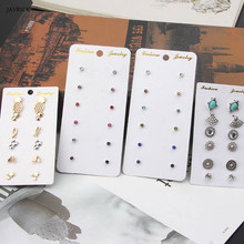 6 Pairs Birthstone Crystal Pineapple Cat Small Mixed Stud Earrings Set For Women