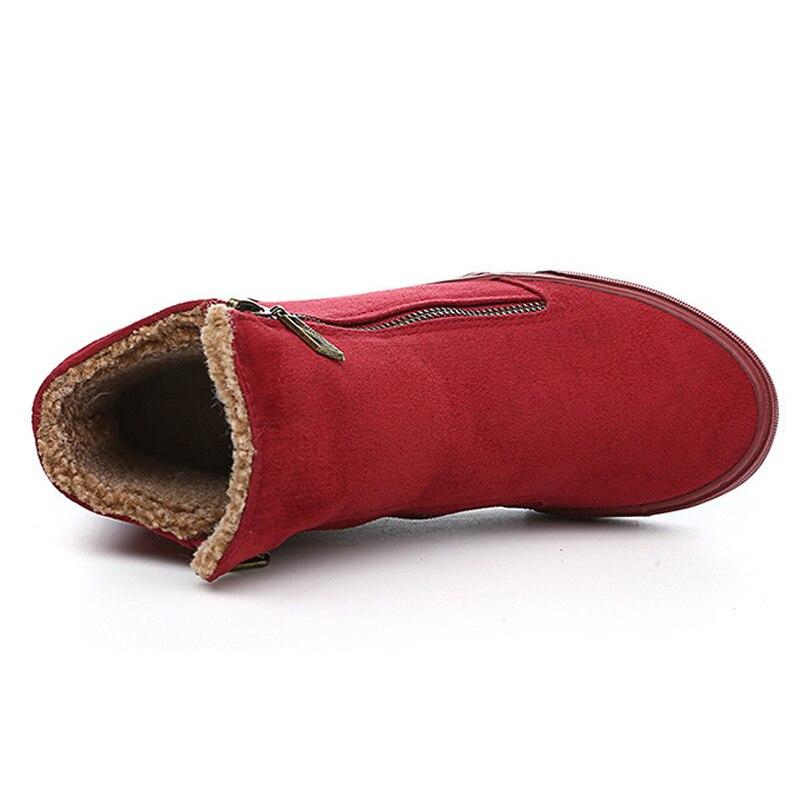 61c553ecf rojo Frío Botas Mujeres marrón Invierno Caliente Para 2019 Nieve Negro  Cremallera De Moda Blue Felpa Las Tobillo La Zapatos ...