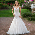 Elegant Mermaid Wedding Dresses 2017 Cap Sleeve V-neck Button Back Sweep Train Women Long Bridal Gowns Custom Made Plus Size