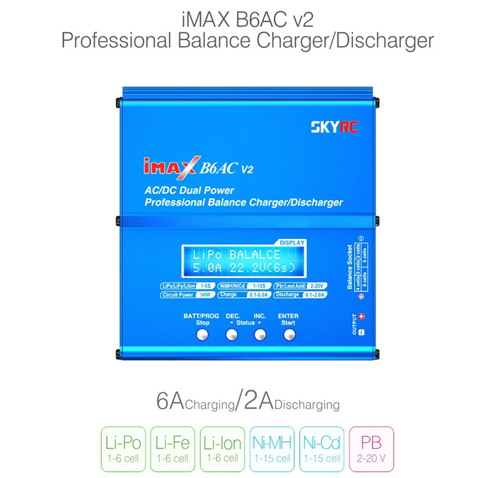 Spare SKYRC iMAX B6AC V2 6A Balance Charger LCD Display Discharger for RC Multirotor Aircraft Battery