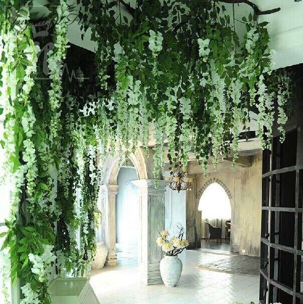 120pcsbag housegardenhotel wedding decoration flower wisteria vine artificial plant silk flowers decorative artificial rattan in artificial dried - House Garden Decoration
