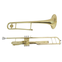 Bb Piston Trombone with case mouthpiece Musical Instruments Yellow Brass Trombones three pistons 2 pcs pistons