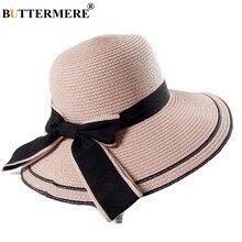 BUTTERMERE Rosa Chapéus de Sol Mulheres Casuais Uv Larga Aba do chapéu de  Sol Cap Praia Feminino Bowknot Elegante Do Feriado Cha. cd04eeb522a