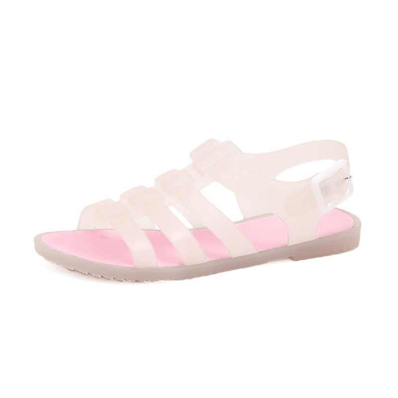 c52cb40bf ... 2018 New Fashion Open Summer Toe Plastic Flat Sandals Casual Beach Shoes  Solid Women Sandals Sandalias ...