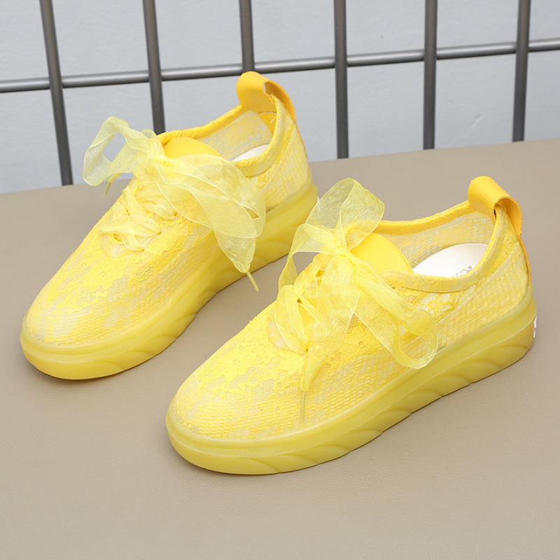 Women Shoes Casual Cutouts Lace Canvas Shoes Hollow Floral Breathable Platform Flat Shoe yellow red white sneakers women A10-50(China)